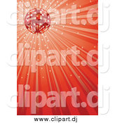 Vector Clipart of a Sparkly Disco Ball and Red Ray Background by Dero