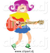January 31st, 2015: Vector Clipart of a Square Headed Girl Playing a Guitar by Prawny