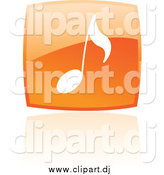 Vector Clipart of a Square Orange Music Note Icon and Reflection by Cidepix