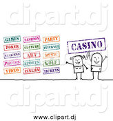 Vector Clipart of a Stick Couple with Entertainment Stamps by NL Shop