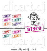Vector Clipart of a Stick Figure Businessman with Music Stamps - Digital Collage by NL Shop