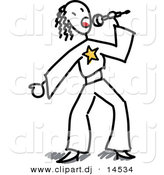 Vector Clipart of a Stick Figure Girl Singing into a Microphone by Frog974