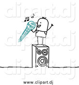 Vector Clipart of a Stick Man Singing Karaoke by NL Shop