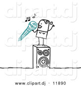 Vector Clipart of a Stick Woman Singing Karaoke by NL Shop