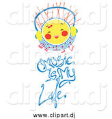 Vector Clipart of a Sun Character with Headphones over Music Is My Life Text by Cherie Reve
