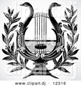 Vector Clipart of a Swan Lyre or Harp - Black and White Vintage Design by BestVector
