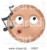 Vector Clipart of a Tan Smiley Face Whistling Tunes by AtStockIllustration