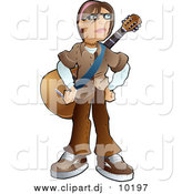 Vector Clipart of a Teenage Caucasian Emo Boy Standing with a Guitar Strapped Around His Chest by AtStockIllustration