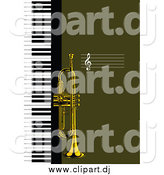 Vector Clipart of a Trumpet and Keyboard Background by