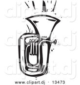 Vector Clipart of a Tuba - White and Black Woodcut Version by Xunantunich