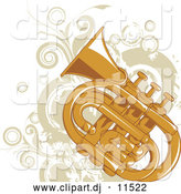 Vector Clipart of a Tuba with Beige Vines and Circles by L2studio
