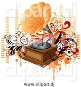 Vector Clipart of a Vintage Phonograph Playing Music, with Orange and Red Vines, Circles and Equalizer Bars by OnFocusMedia