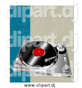 Vector Clipart of a Vinyl Record on a Player by Toonster