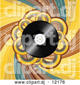 Vector Clipart of a Vinyl Record with Loops and Swirls by Elaineitalia