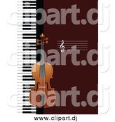Vector Clipart of a Violin and Keyboard Background by
