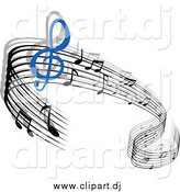 Vector Clipart of a Waving Staff and Music Notes by Vector Tradition SM
