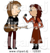 Vector Clipart of a White Female Singer and Male Guitarist by Pams Clipart