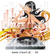Vector Clipart of a White Girl Dancing While Listening to Music on a Vinyl Record Through Headphones by OnFocusMedia