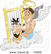 March 16th, 2016: Vector Clipart of a White Male Angel with a Halo and Wings, Sitting on a Cloud and Playing a Harp by AtStockIllustration