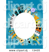 Vector Clipart of a White Oval Copyspace Background Within Music Items Border Design by BNP Design Studio
