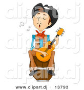 Vector Clipart of a Wild West Cartoon Cowboy Playing a Guitar While Singing by BNP Design Studio