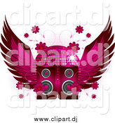 Vector Clipart of a Winged Disco Ball Flowers and Speakers by Elaineitalia