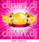 Vector Clipart of a Winged Gold Disco Ball with Speakers over a Blank Banner and a Burst of Rays by Elaineitalia