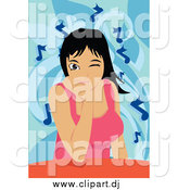 Vector Clipart of a Winking Woman Listening to Music by Mayawizard101