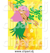 Vector Clipart of a Woman Hula Dancing by Mayawizard101
