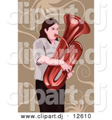 Vector Clipart of a Woman Playing a Tuba by Mayawizard101
