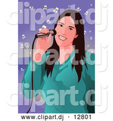 Vector Clipart of a Woman Singing by Mayawizard101