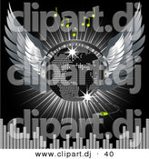 Vector Clipart of a World Map on Winged Silver Disco Ball Above Equalizer Bars on Black Background by Elaineitalia