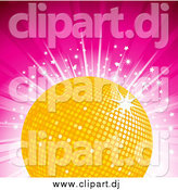 Vector Clipart of a Yellow Disco Ball on a Bursting Pink Background with Stars by Elaineitalia