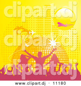 Vector Clipart of a Yellow Disco Ball Planet with Palm Trees, Butterflies, a Plane, and Equalizer Bars Under a Yellow Sun by Elaineitalia