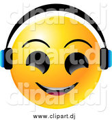 Vector Clipart of a Yellow Emoticon Face Smiling and Wearing Headphones, Listenting to Tunes by Tonis Pan