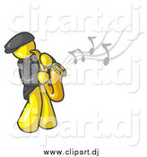 Vector Clipart of a Yellow Man Playing a Saxophone by Leo Blanchette