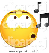 Vector Clipart of a Yellow Smiley Whistling Music Notes by Beboy