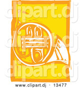 Vector Clipart of a Yellow Woodcut French Horn by Xunantunich