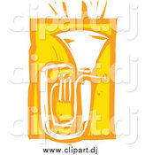 Vector Clipart of a Yellow Woodcut Styled Tuba Instrument by Xunantunich