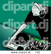 Vector Clipart of a Young Bald Male DJ Putting Record on Turntable - Green Background by Dero