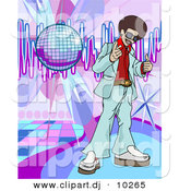 Vector Clipart of a Young Black Man with Afro Standing Beside a Disco Ball on a Dance Floor by AtStockIllustration