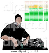 Vector Clipart of a Young DJ Geared up to Party with Single Record Turntable and Adjustable Audio Controls by Dero