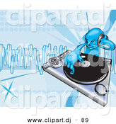 Vector Clipart of a Young Male DJ Mixing Records on a Turntable by AtStockIllustration
