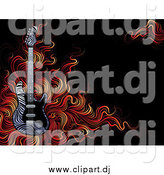 Vector Clipart of a Zebra Print Guitar with Flames on Black by Elena
