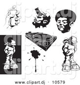 Vector Clipart of African American Men, Spray Paint, Record Player, and Hip Hop Design Elements by AtStockIllustration