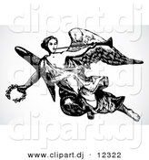 Vector Clipart of an Angel Flying with Trumpet and Laurel - Black and White Retro Design by BestVector