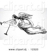 Vector Clipart of an Angel Playing 2 Trumpets - Black and White Vintage Art by BestVector