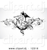 Vector Clipart of an Angel Playing a Trumpet Within a Vine Header Design - Black and White Vintage Art by BestVector