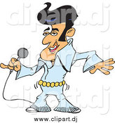 Vector Clipart of an Elvis Impersonator Singing and Shaking His Hips by Dennis Holmes Designs