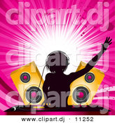 Vector Clipart of an Energetic Female DJ Mixing Records at a Party with Speakers and a Pink Background by Elaineitalia